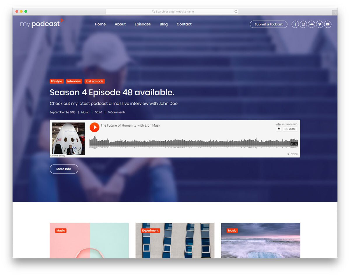 interactive podcast website template