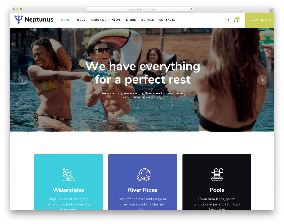 water park website template
