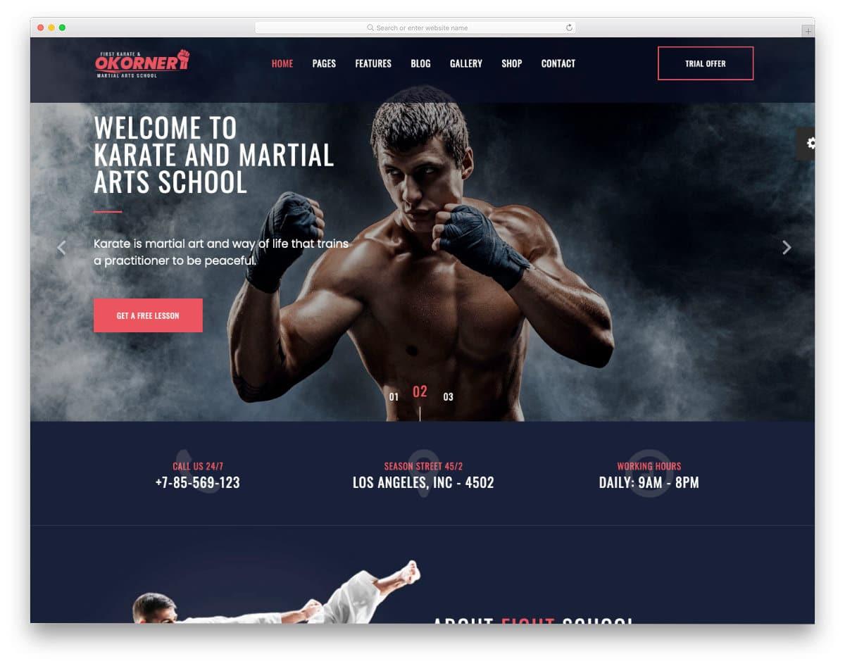 multipurpose martial arts website templates