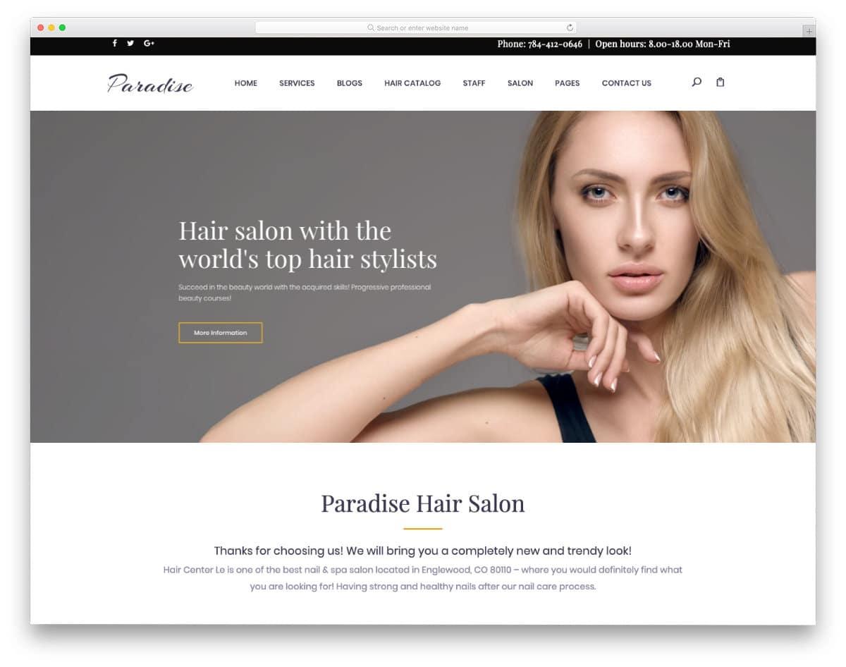 simple and elegant hair salon websites templates