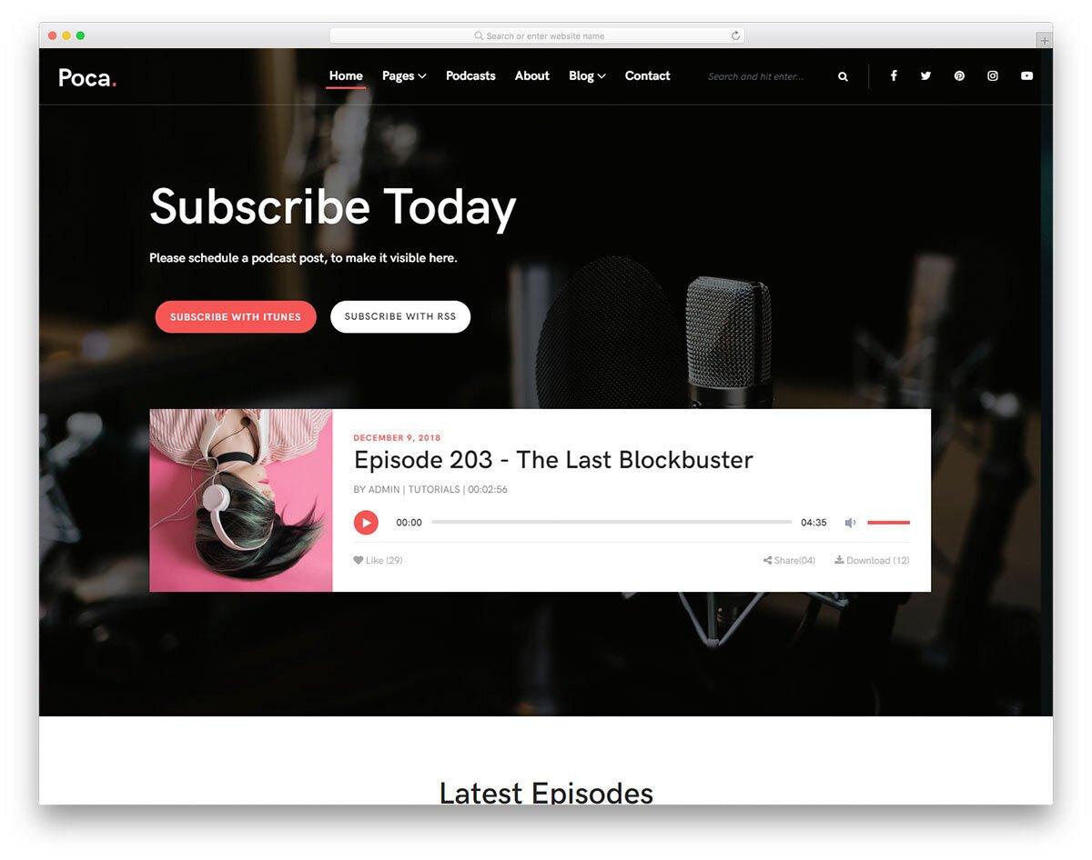 listener-friendly podcast website template