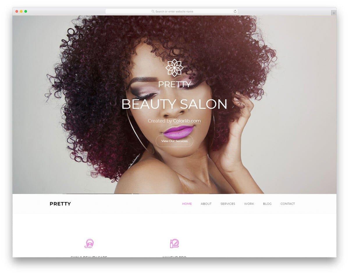 beautiful looking hair salon website template