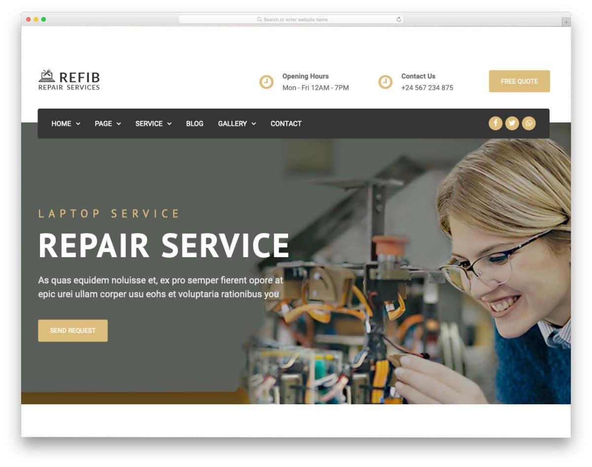 computer repair web template