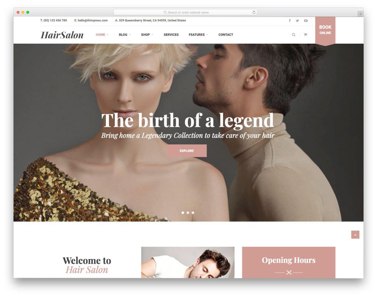 clean hair salon websites templates