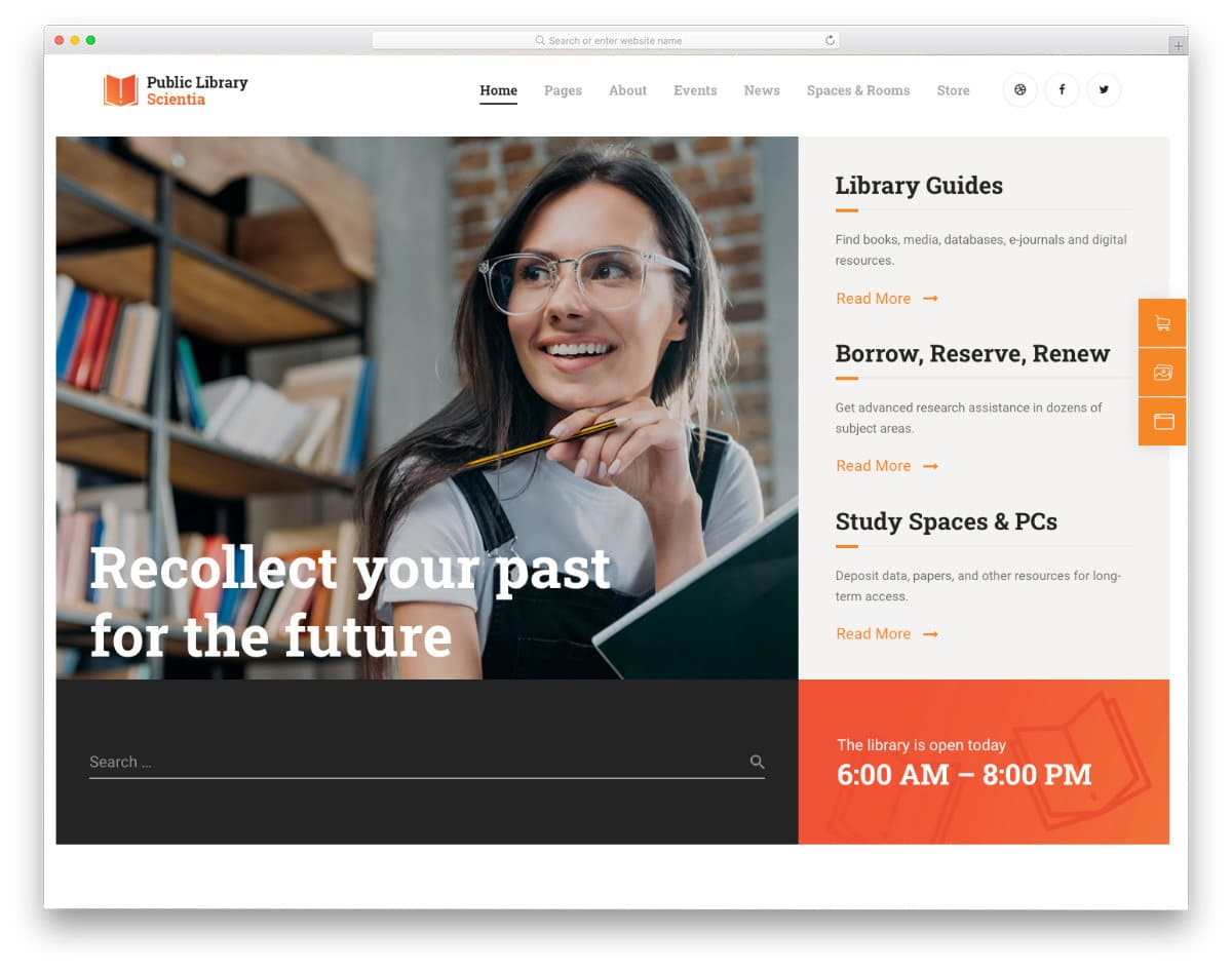 book library and book rental website template
