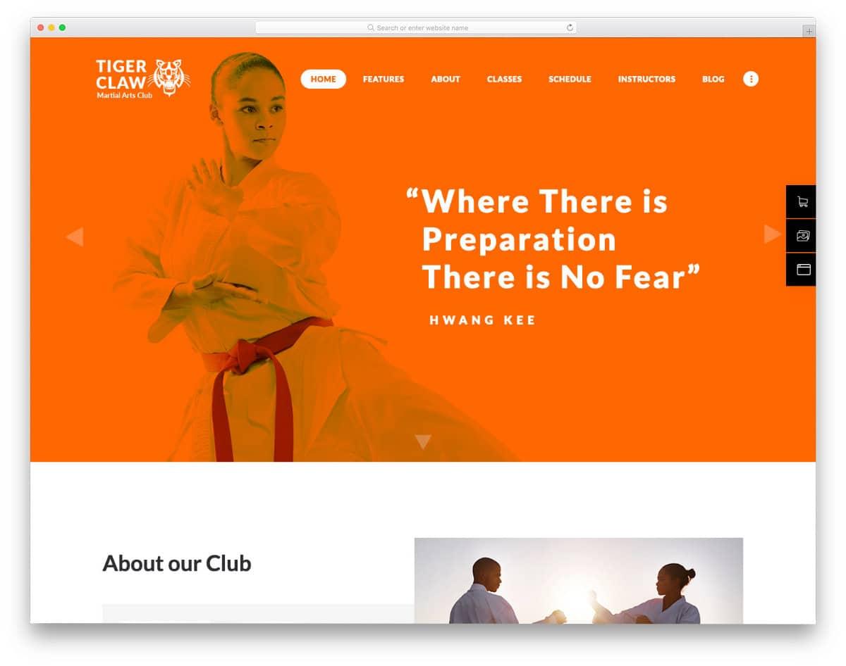 martial arts niche-friendly website template