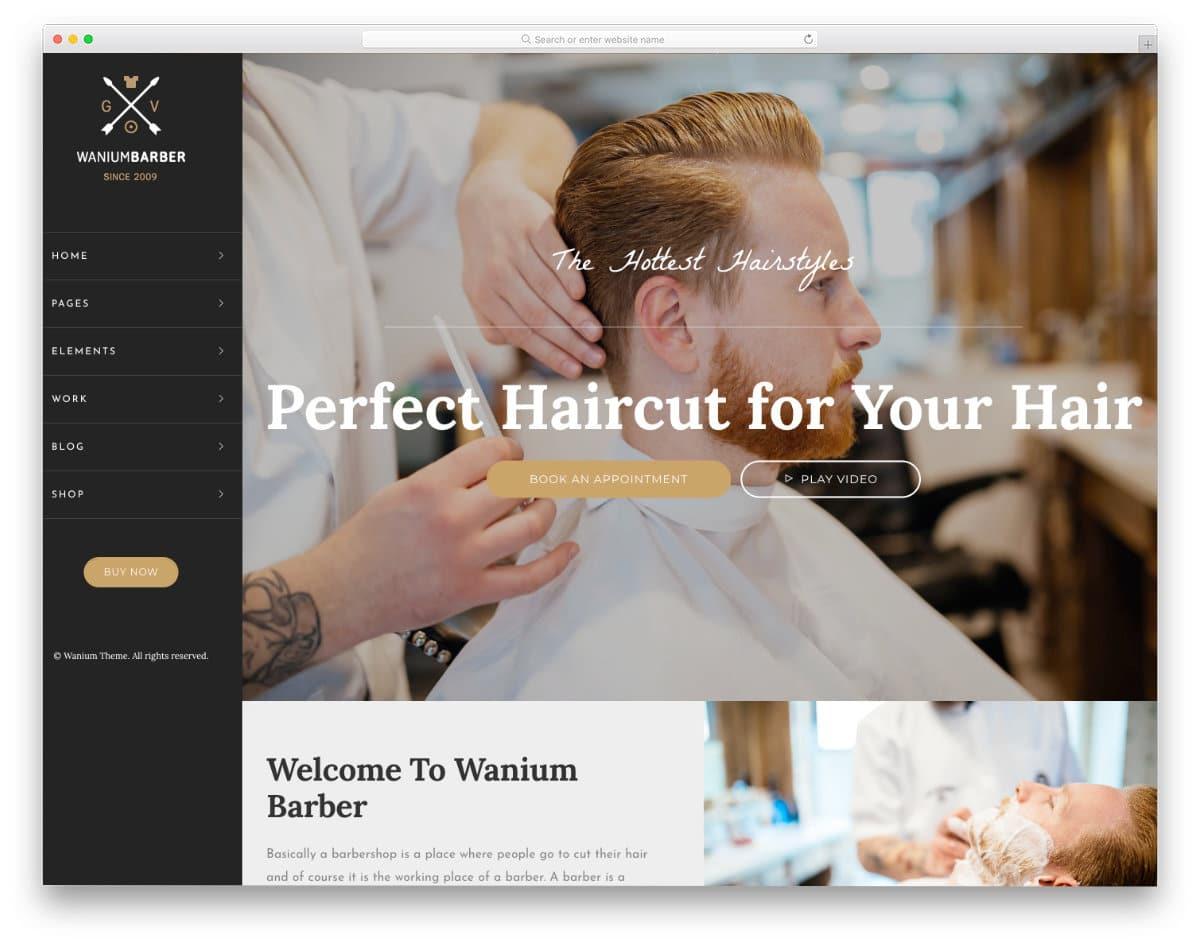 men's haircut website template