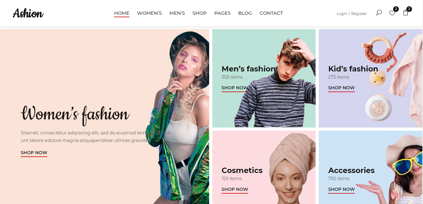 ashion-eCommerce-website-template