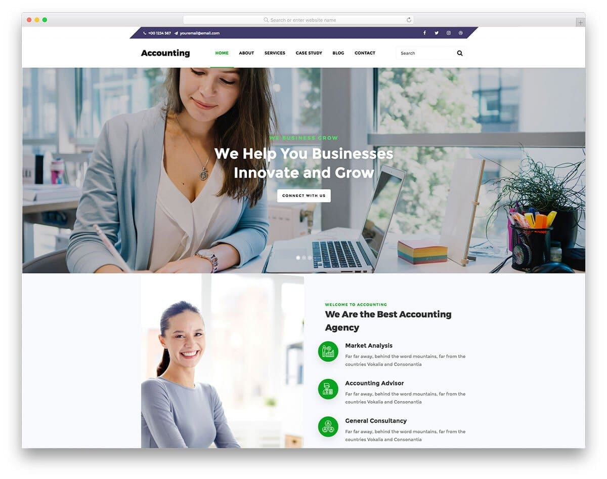 virtual assistant website template for finance and accounting