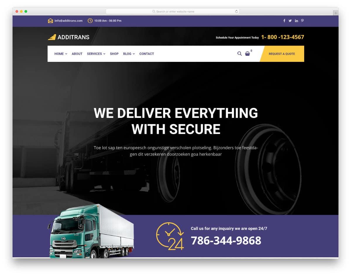 modern logistics website template