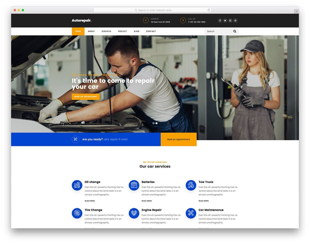 auto detailing and auto repair website template