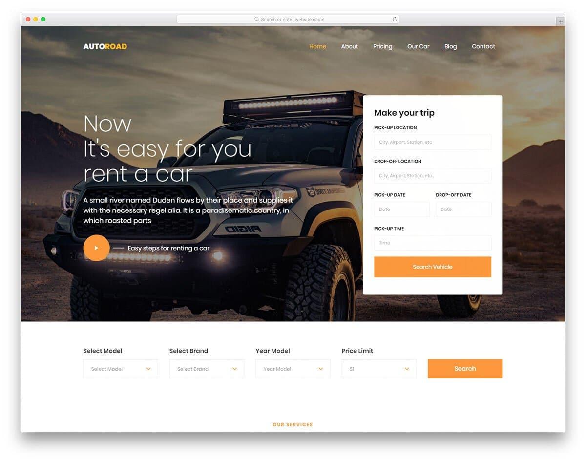 HTML car dealer website templates