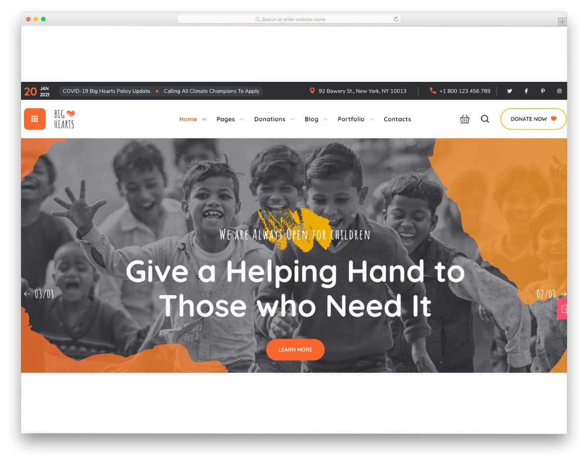 java websites templates for charity websites