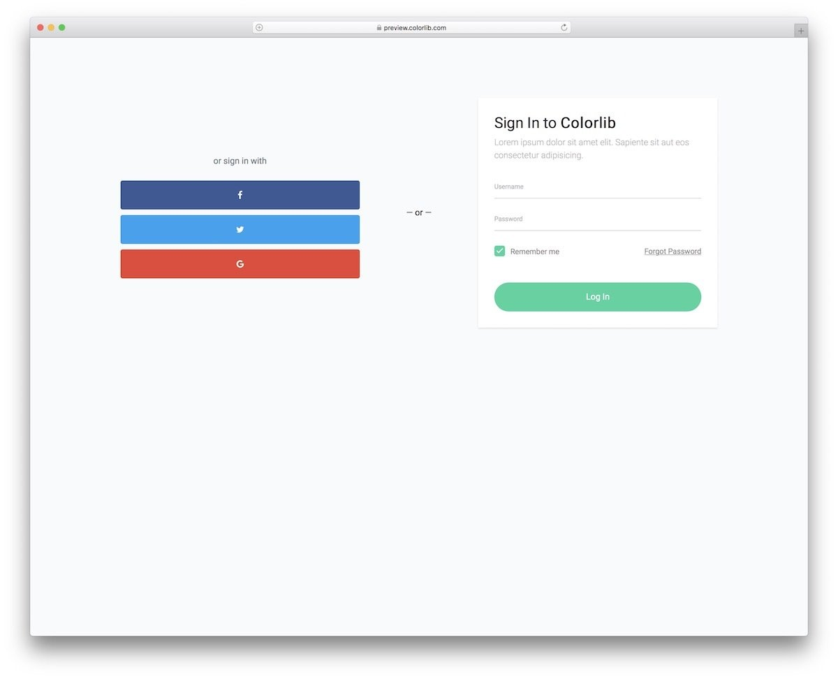 free bootstrap login form with social media login option