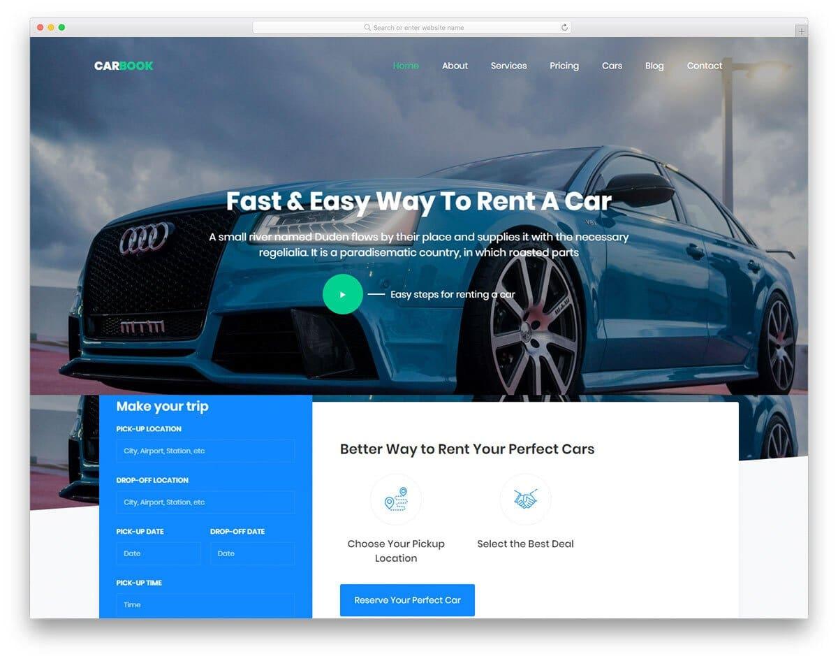 responsive car rental and car dealer website template