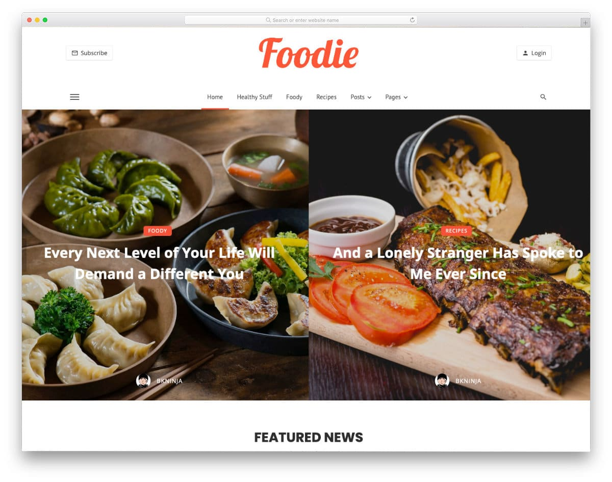 website template for dynamic blogs and magazines