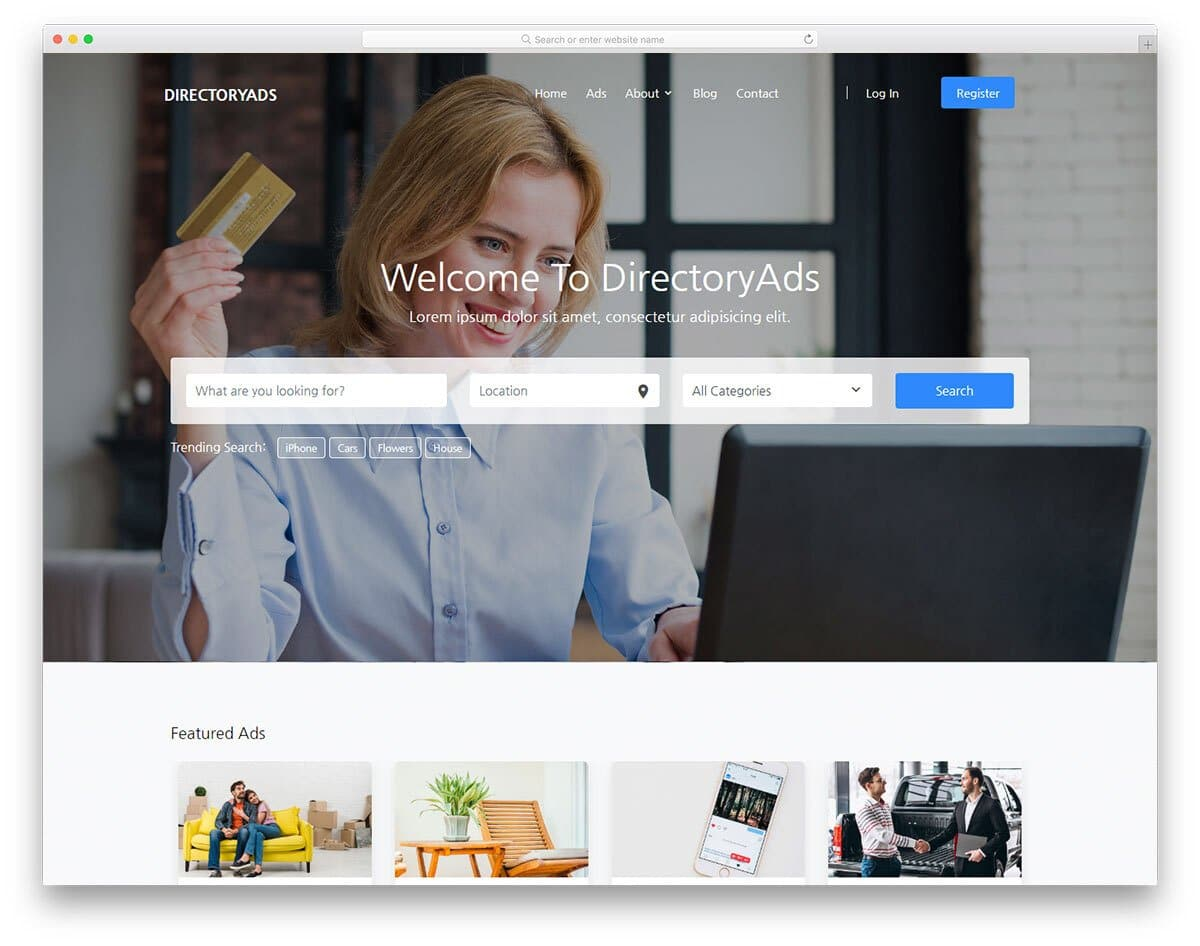 corporate-style database website template