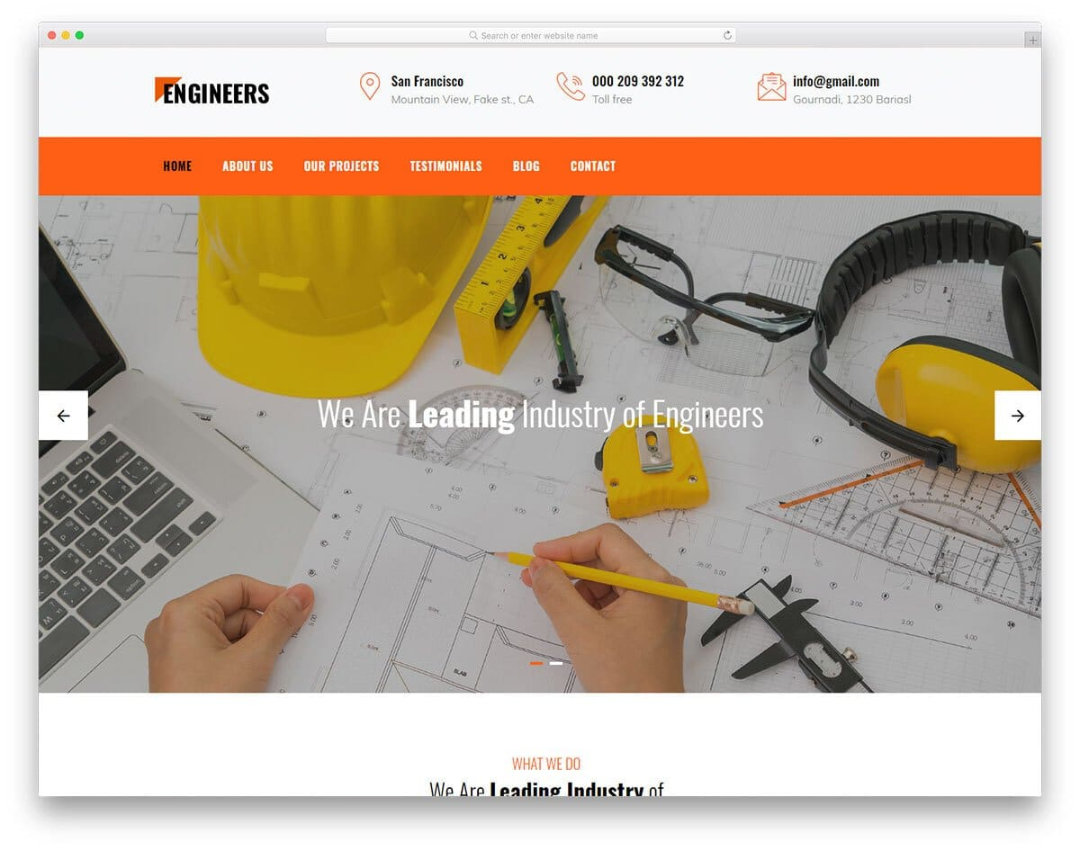 engineering and manufacturing industry website template