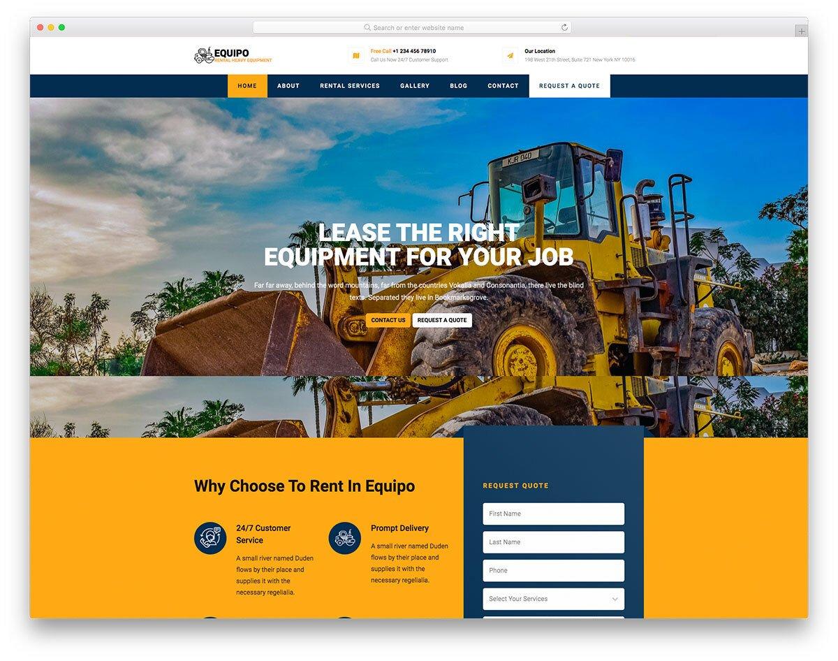 HTML equipment rental website template