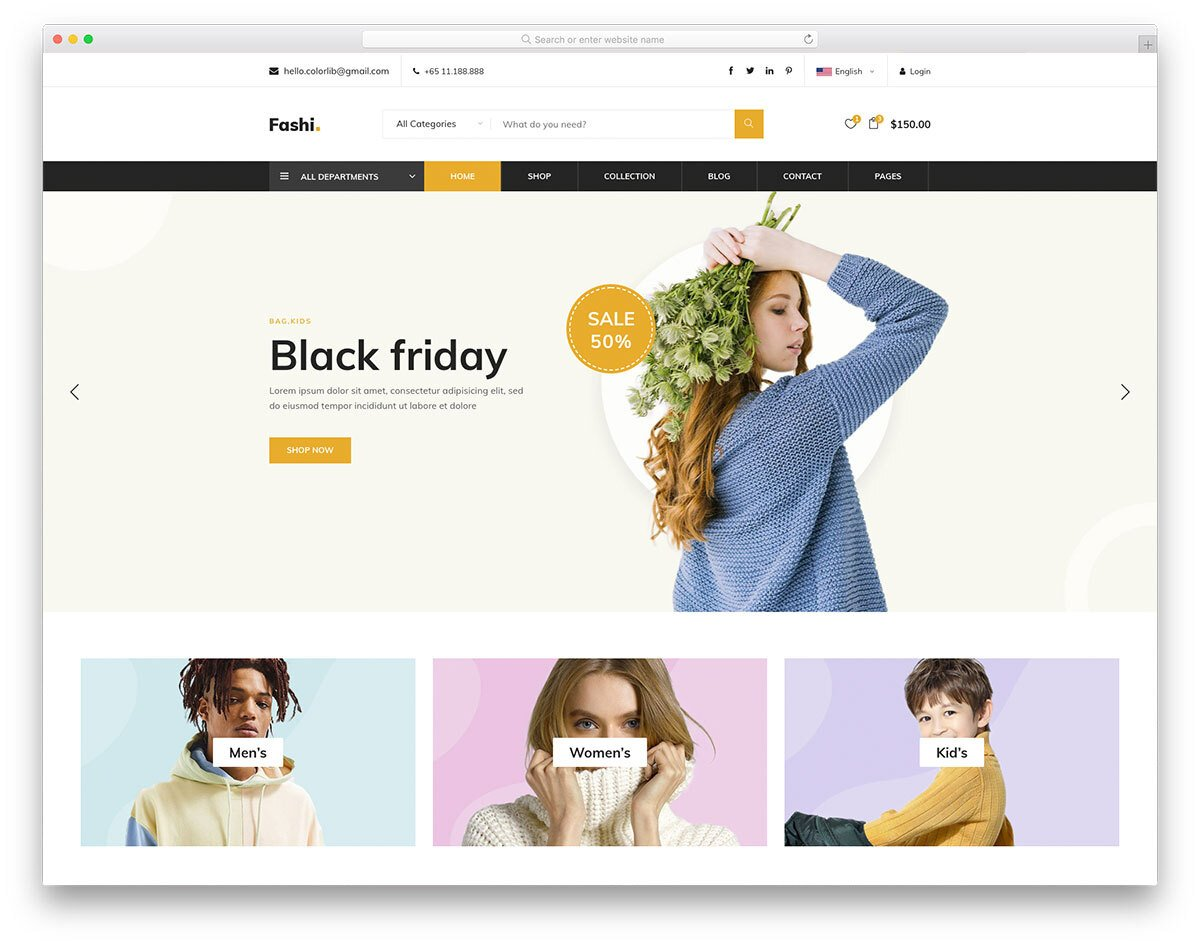 feature-rich eCommerce website template