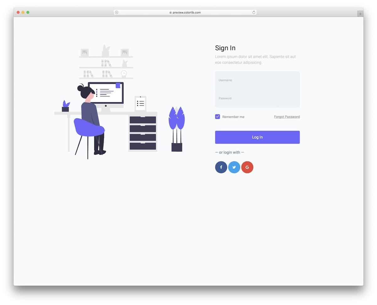 visually appealing free bootstrap login form template