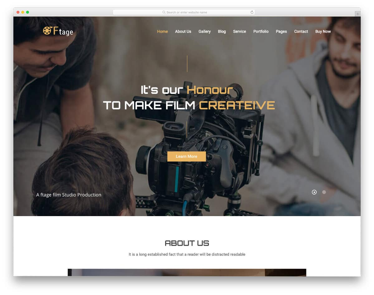 video production and movie studio website template