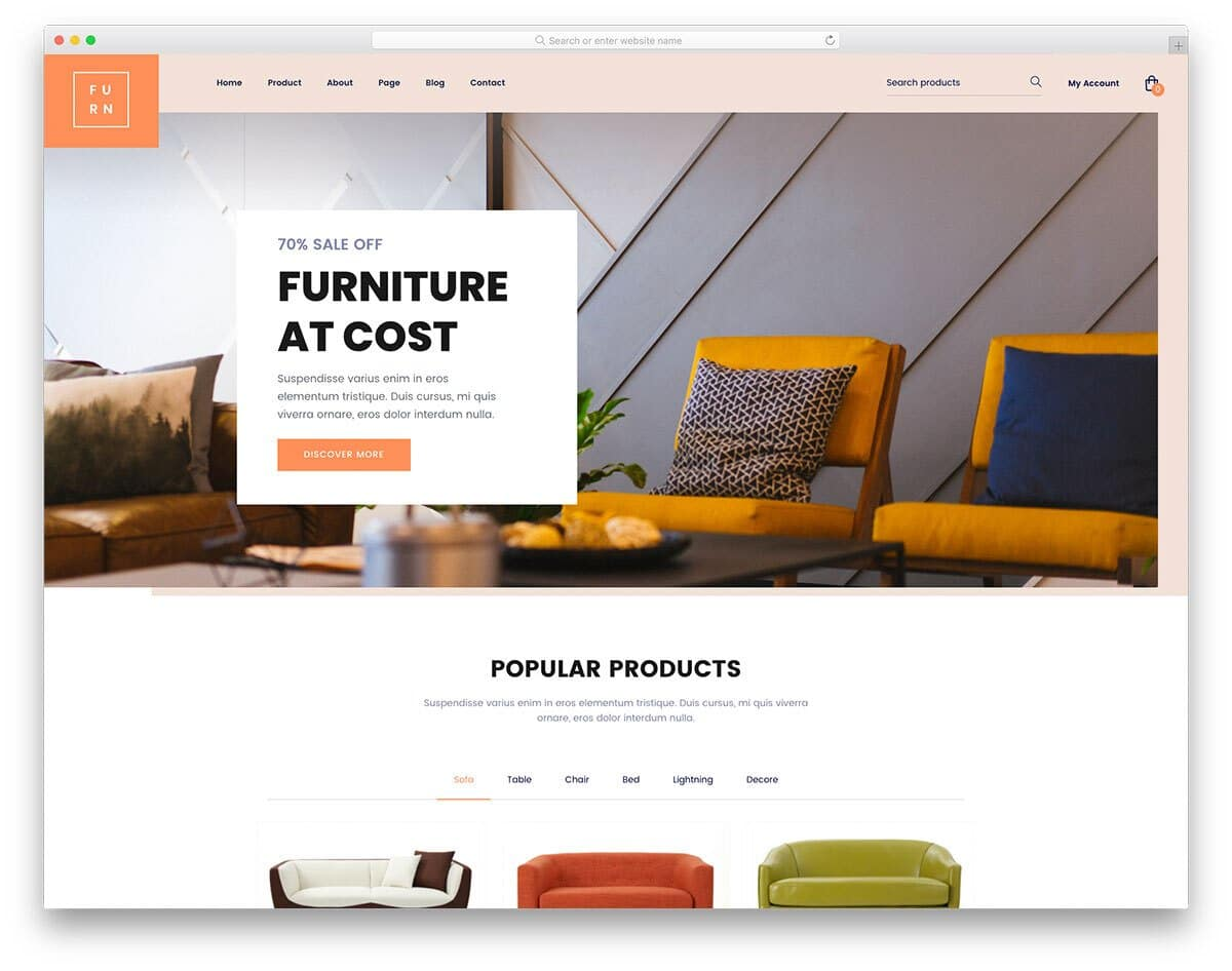 stylish eCommerce website template for furniture stores