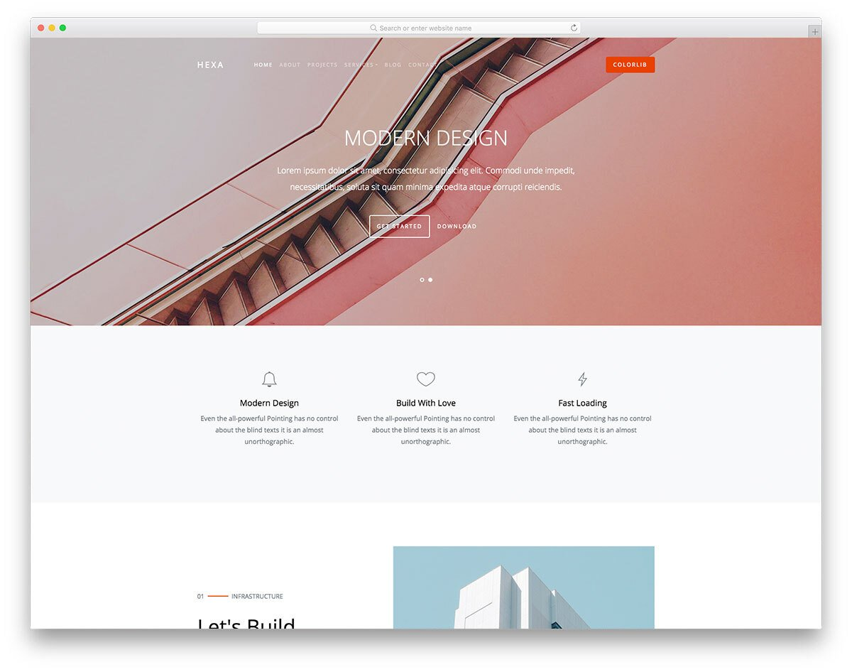 minimal interior design and furniture website template
