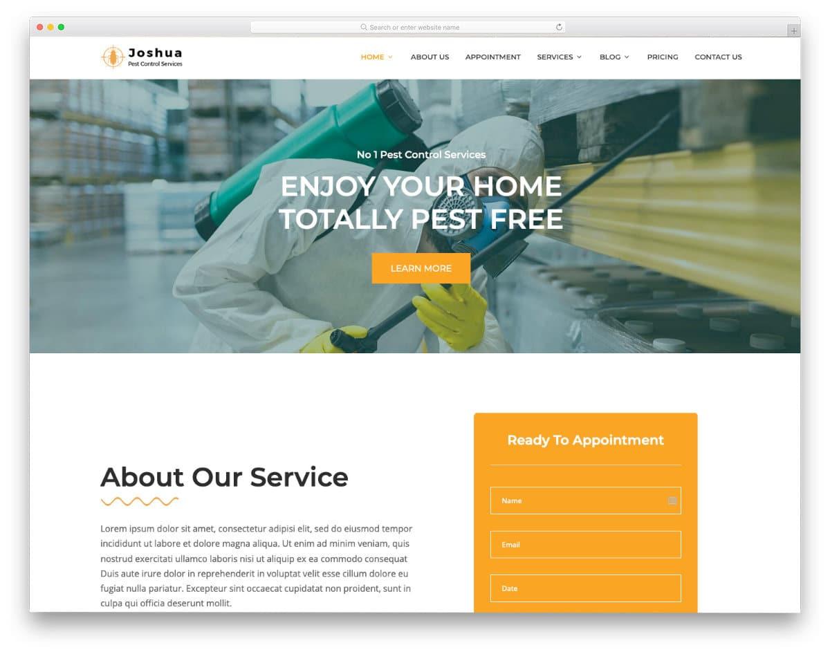 html pest control website template