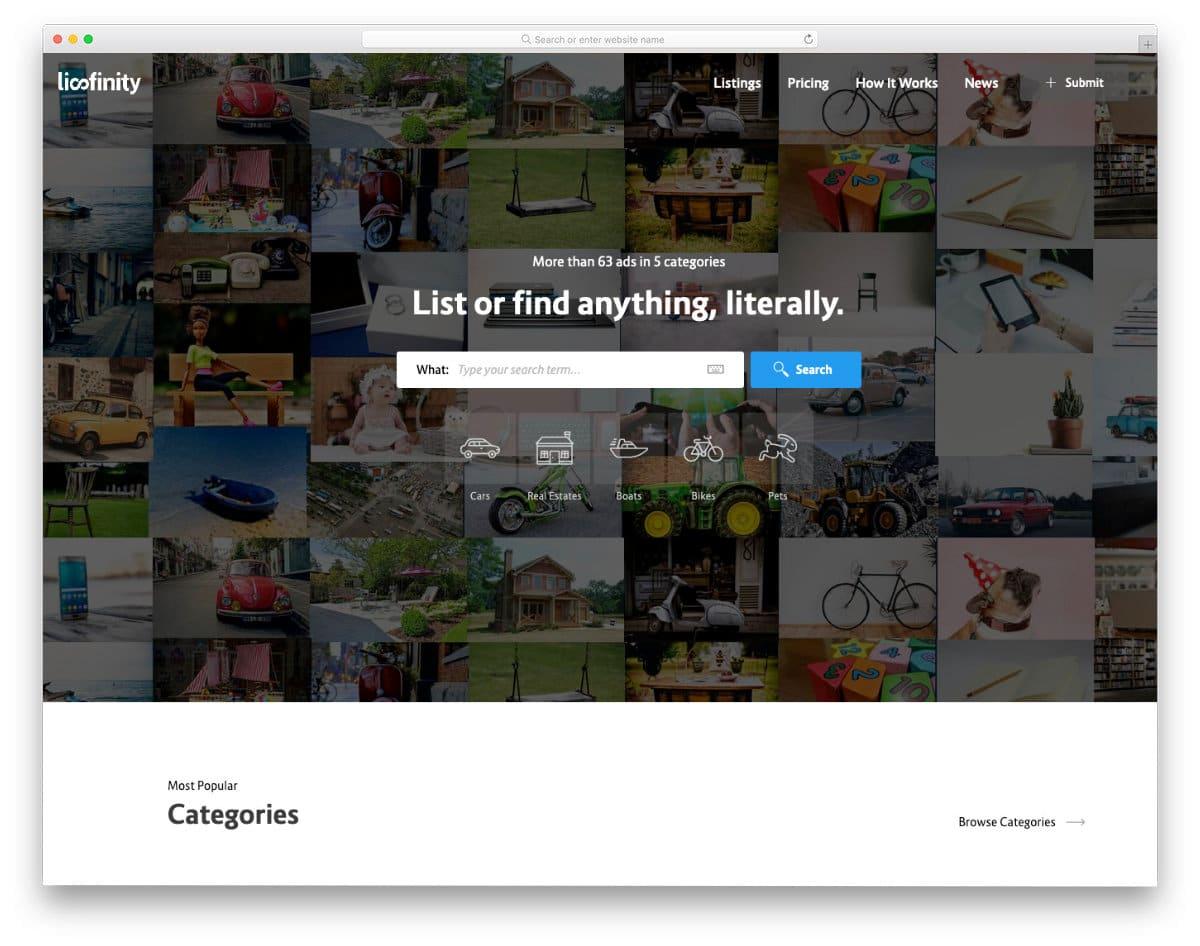 fake website template to create craigslist like website