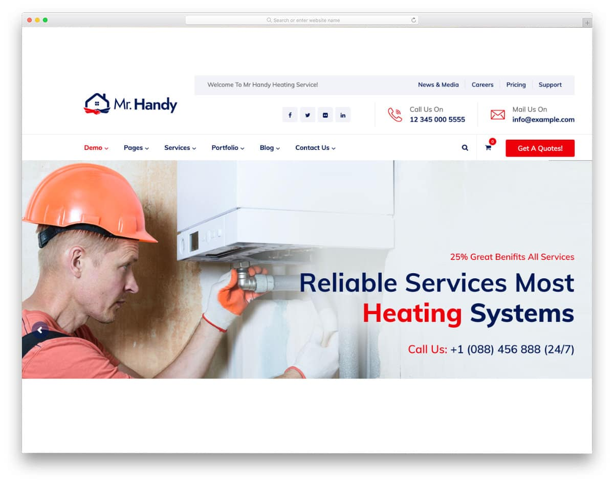 proper WordPress HVAC website template