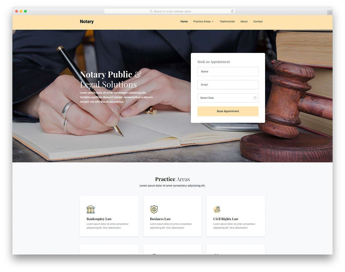 notary website template HTML