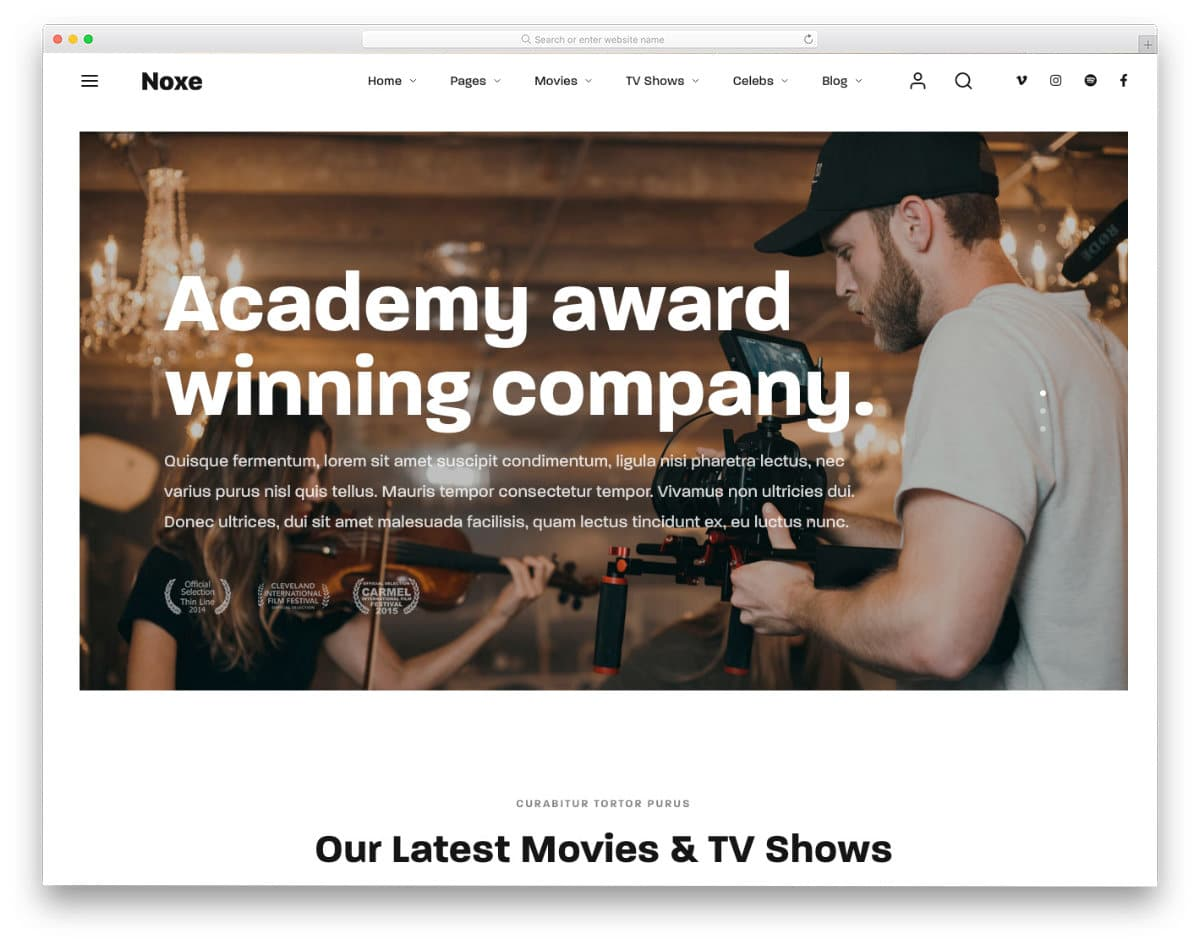 movie production and bootstrap studio templates
