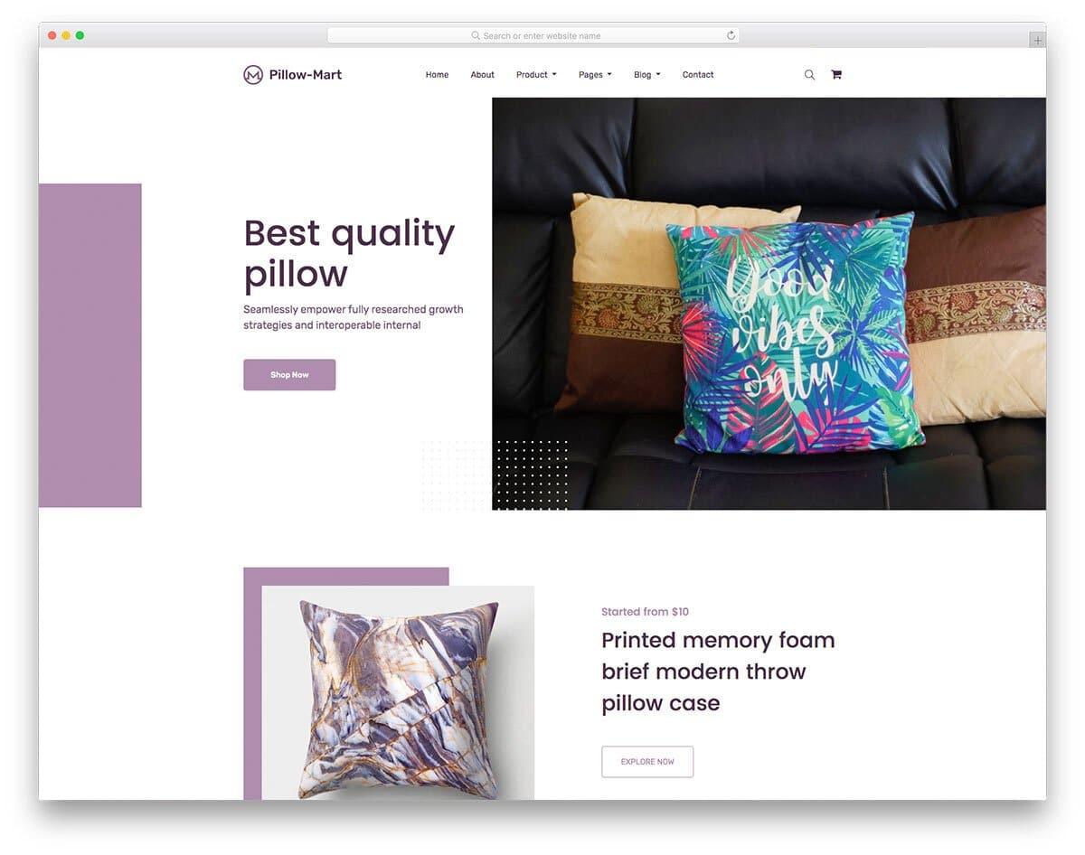 free online pillow store website template