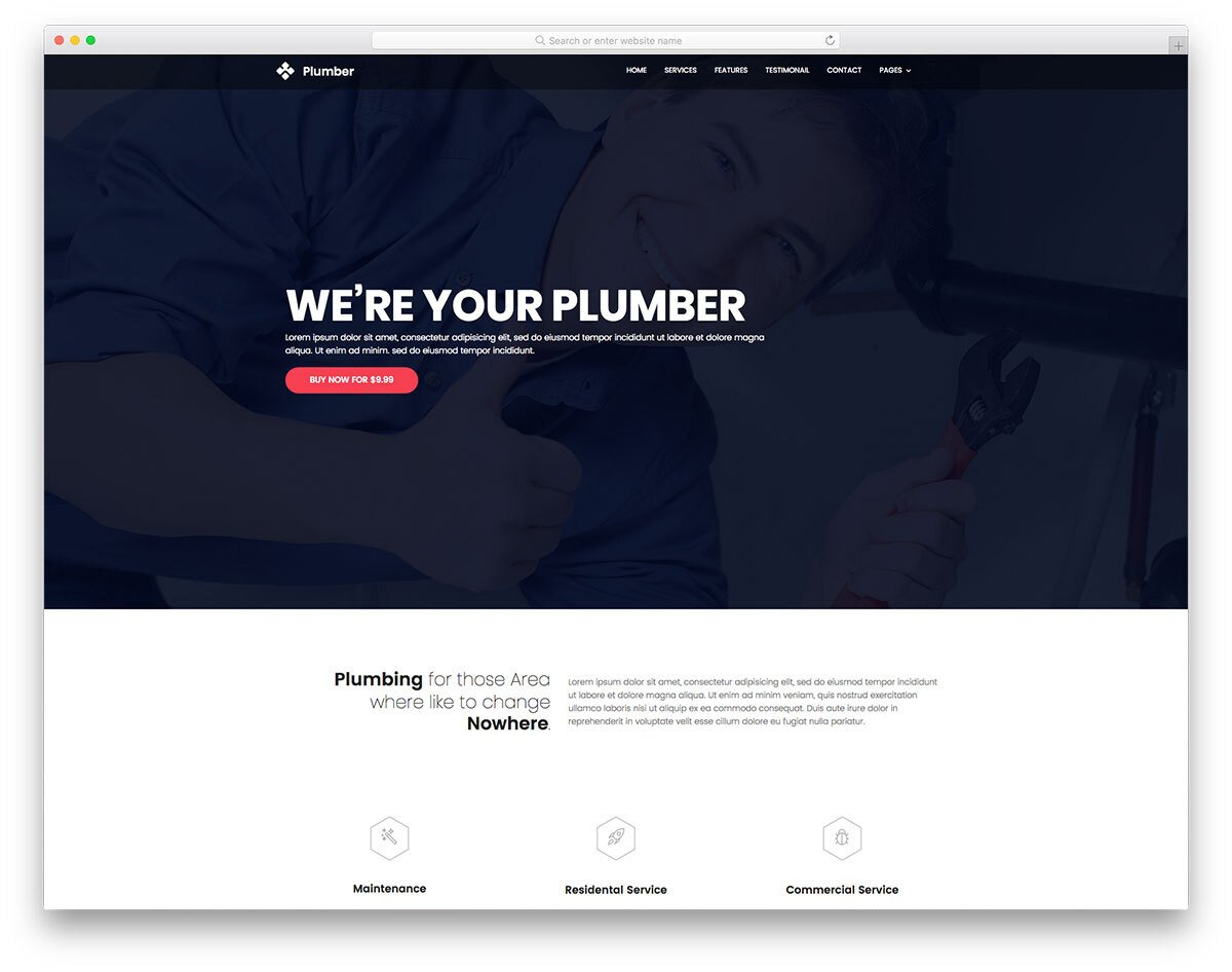 plumber and hvac one-page website template