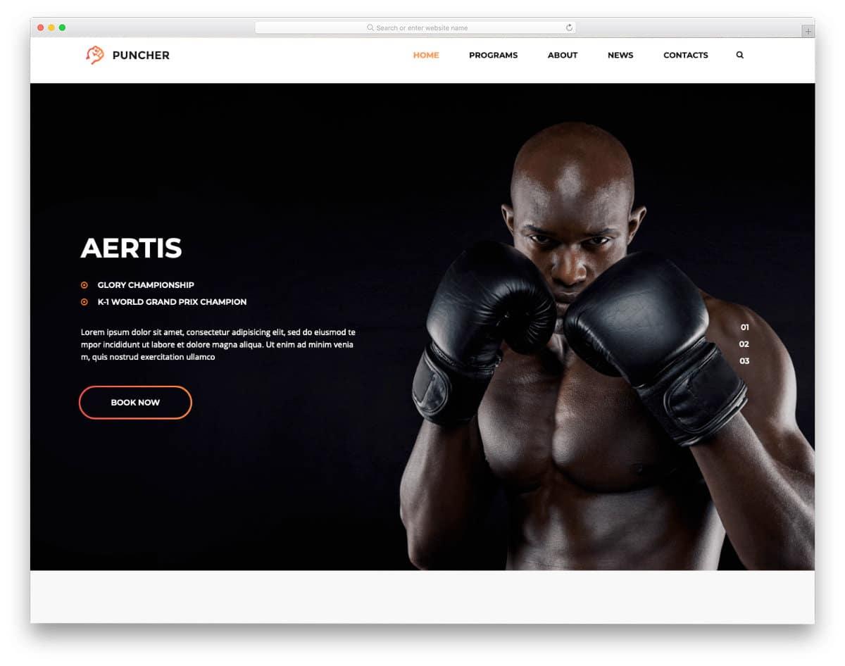 boxing and martial arts WordPress theme