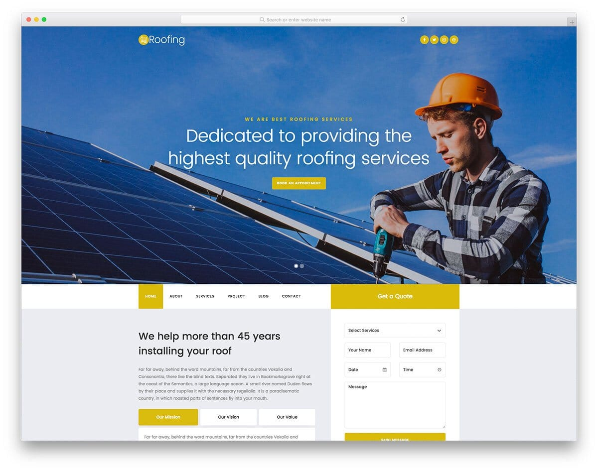 roofing and engineering service website template