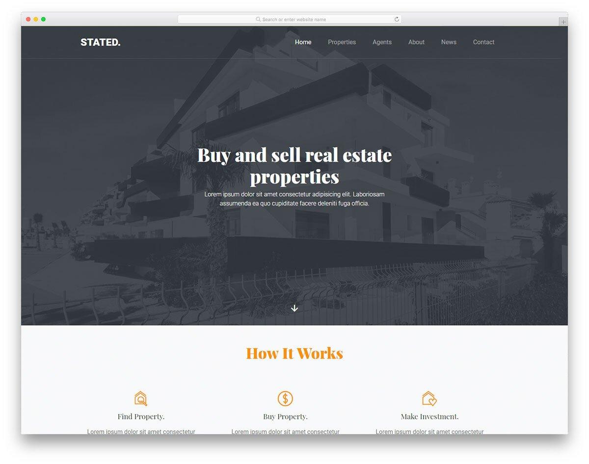 minimal real estate investor website template