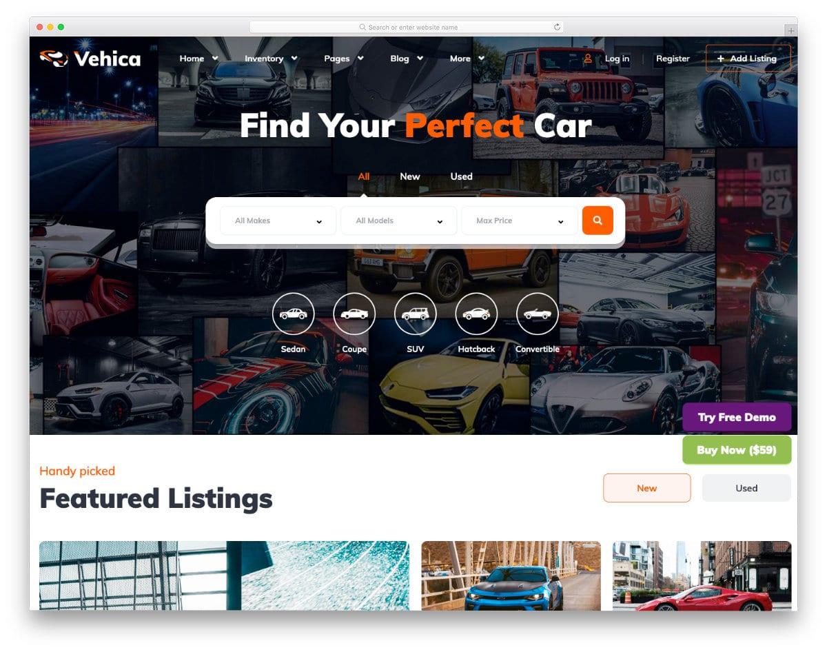 car dealer website template wordpress
