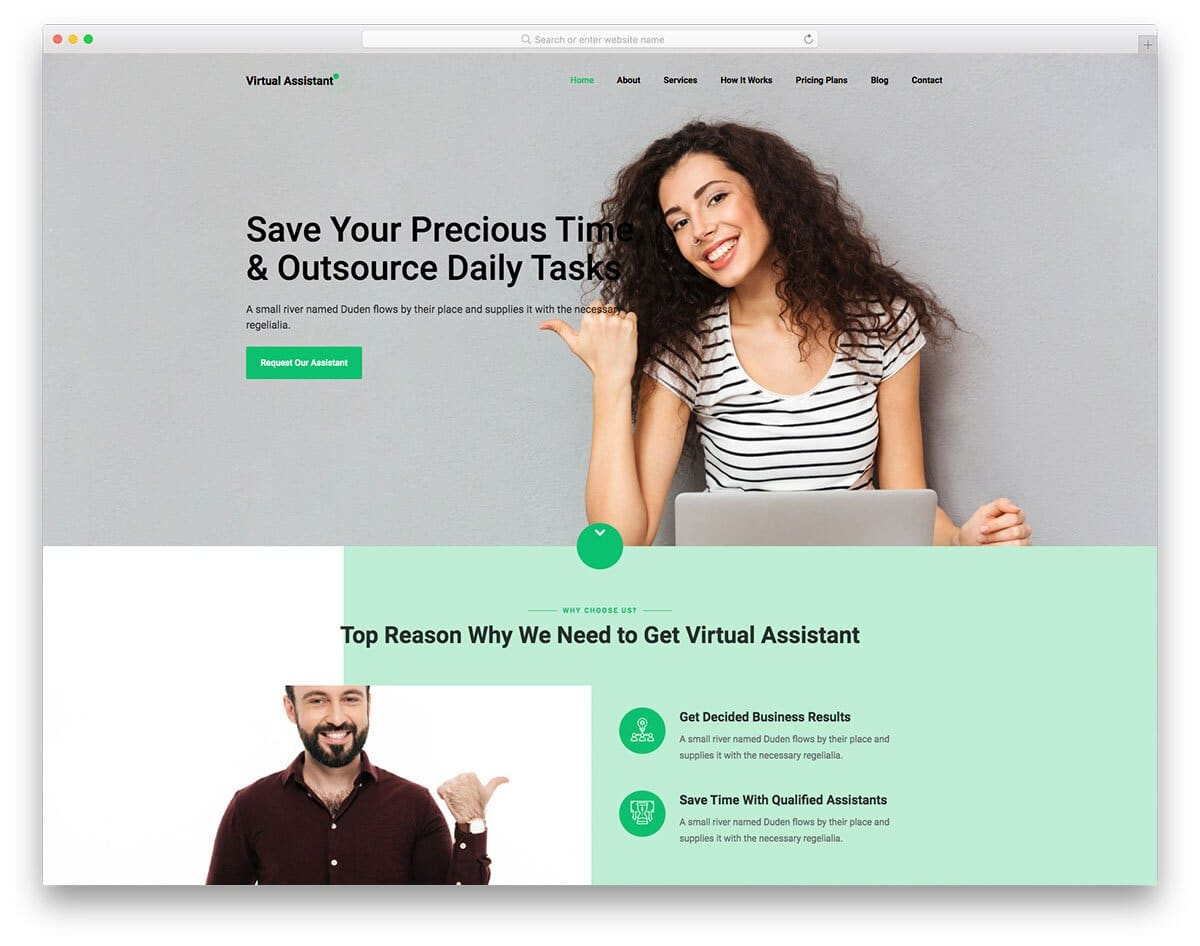 html virtual assistant website template