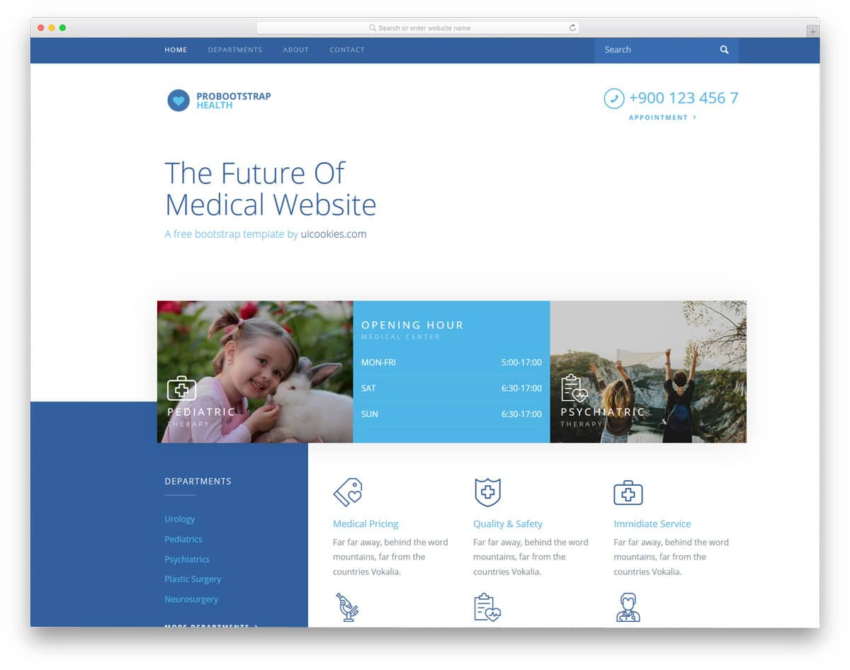 free doctor website template with a modern look