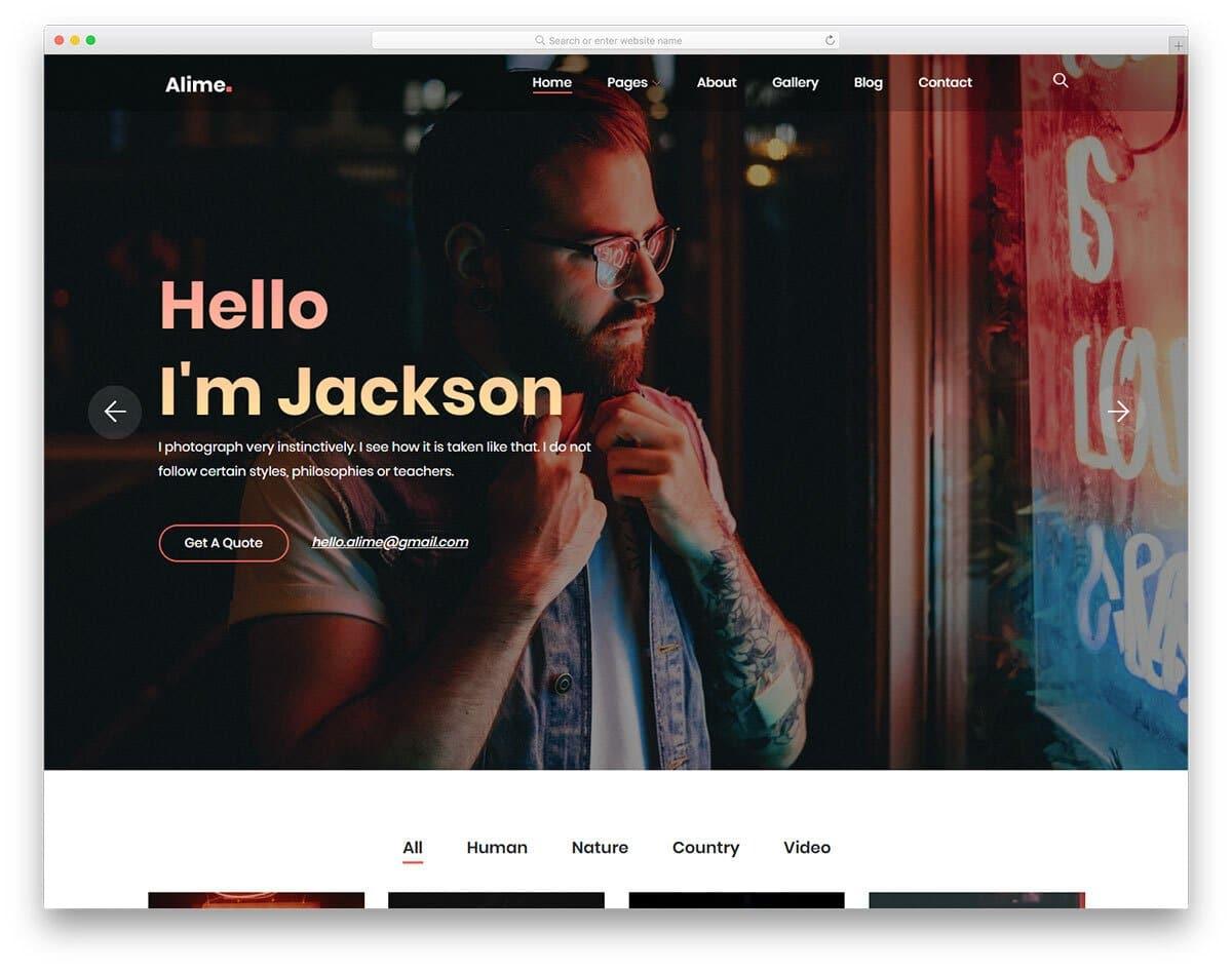 actor personal website template