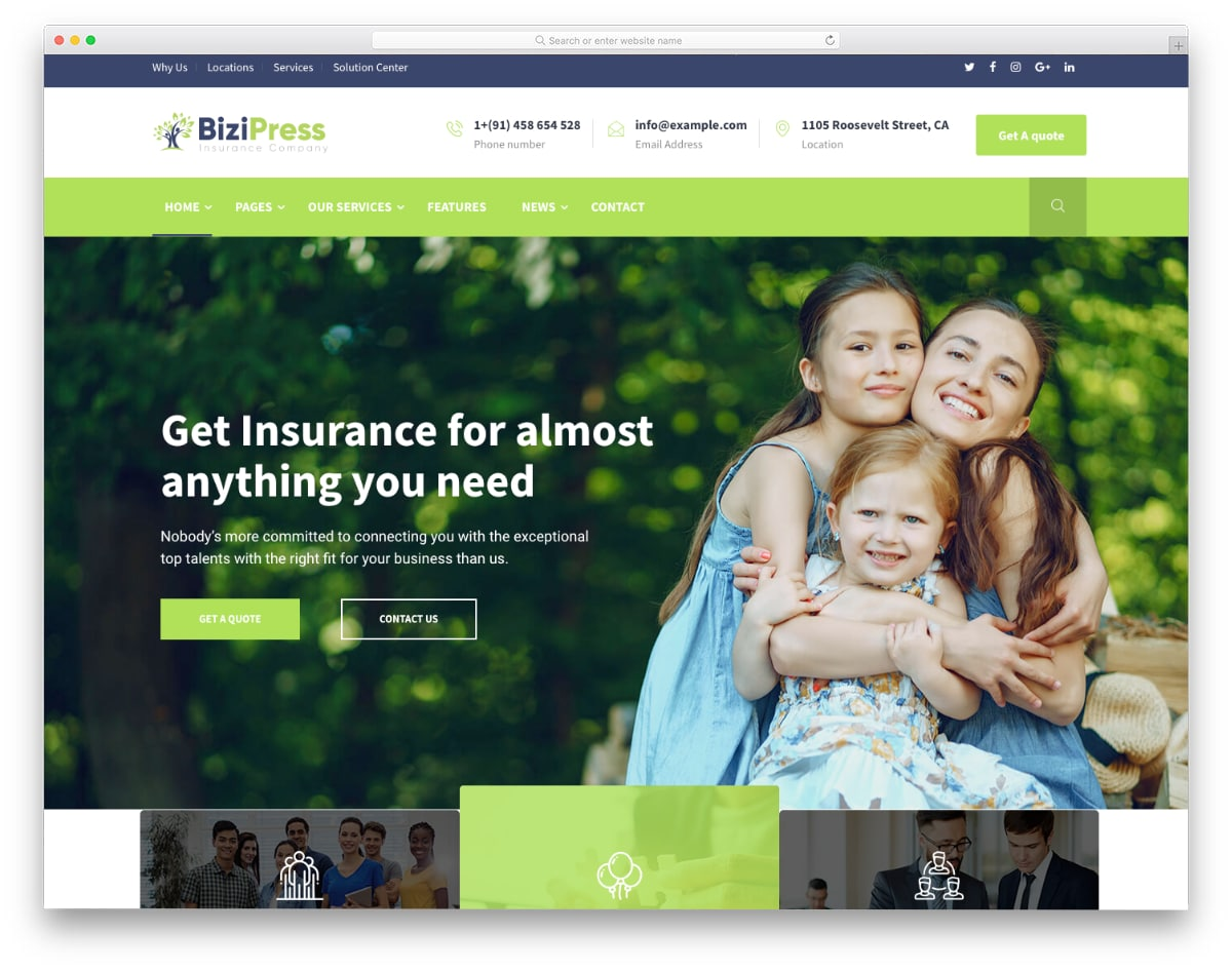 insurance agent website template for all categories