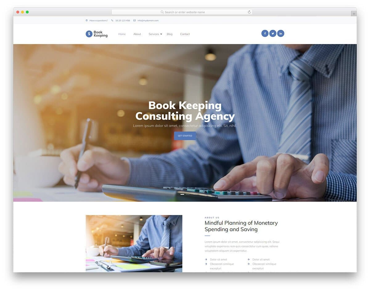 book keeping and tax service website template