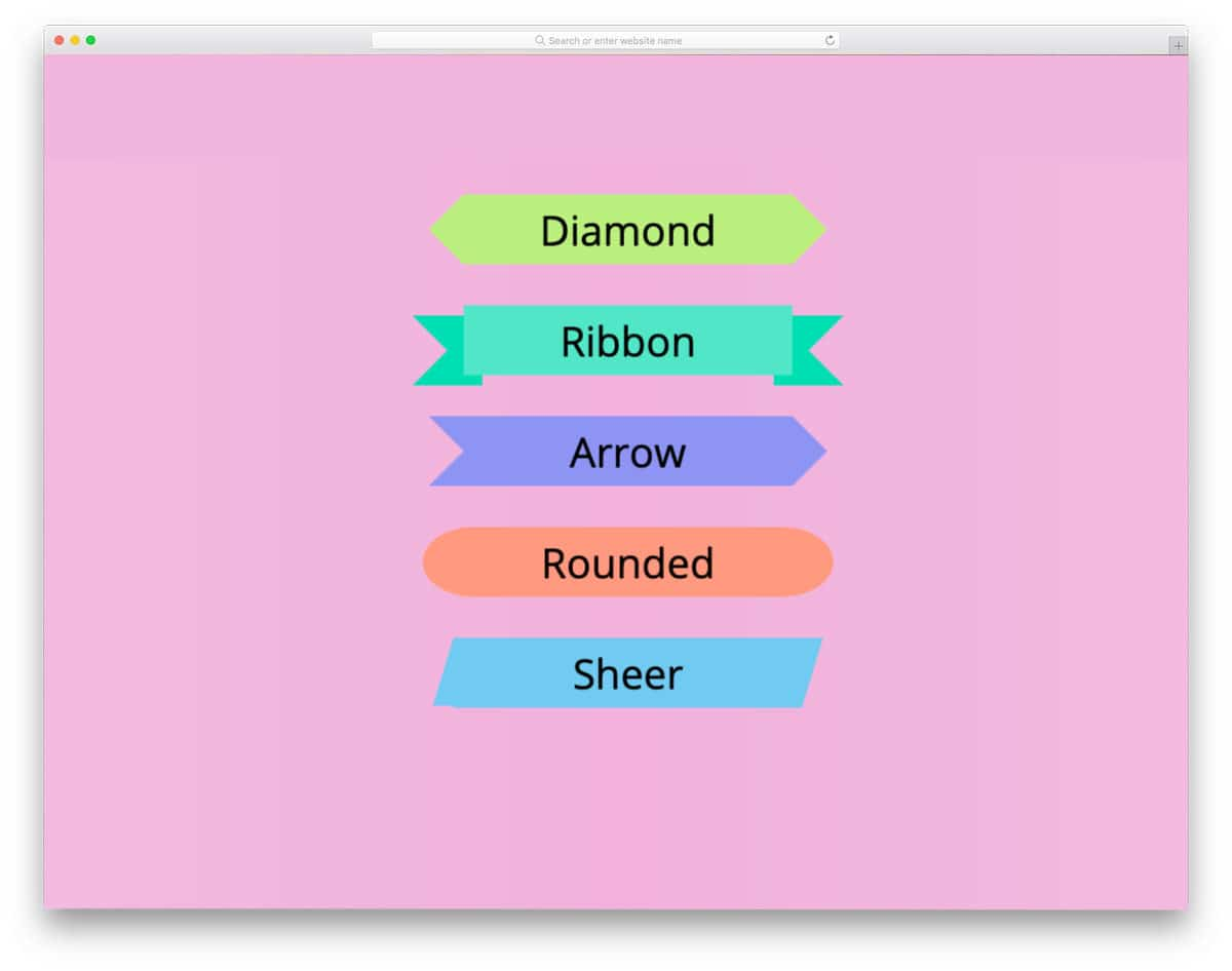 CSS triangle ribbon button