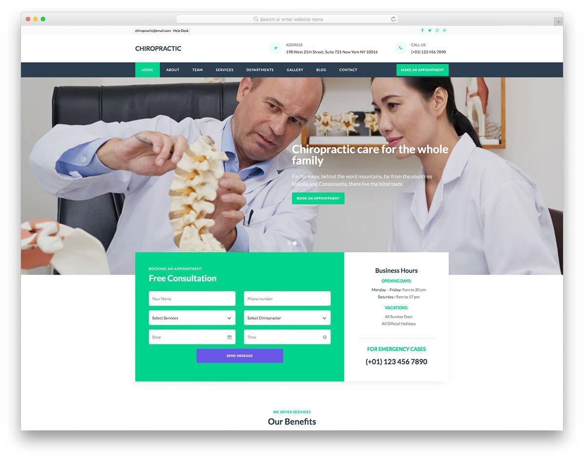 healthcare website template for Chiropractic