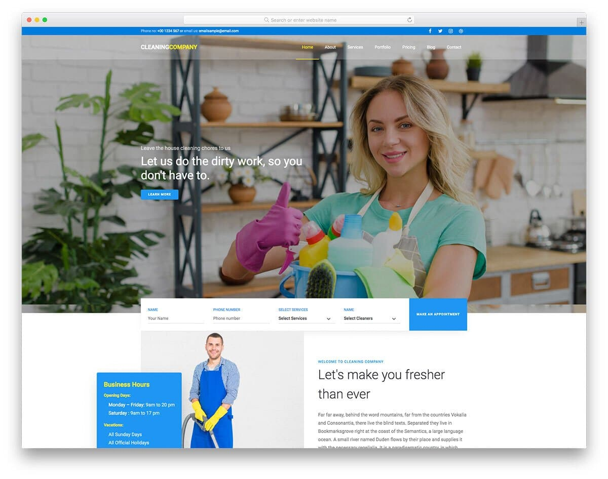 cleaning company and carpet cleaning website template