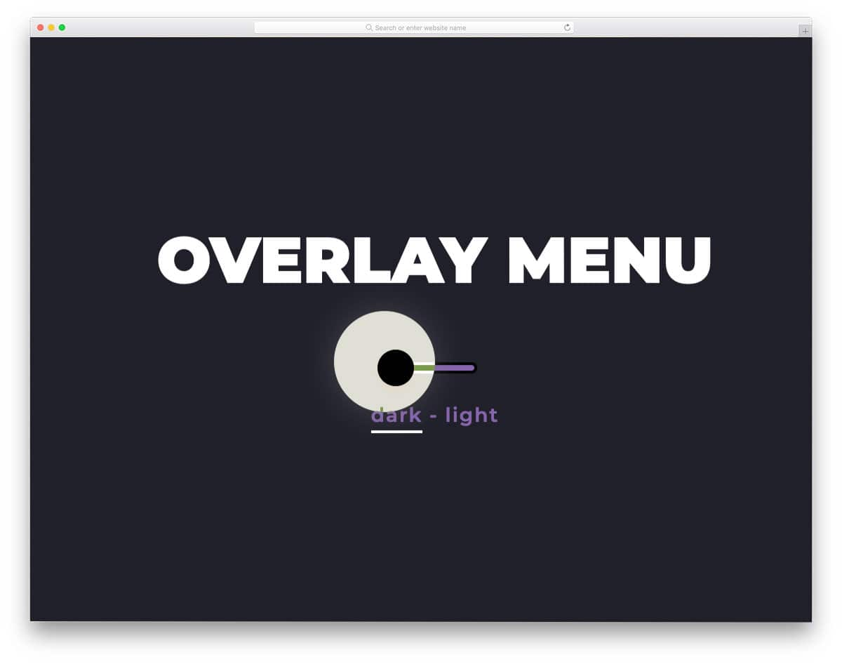 interactive menu hover effect