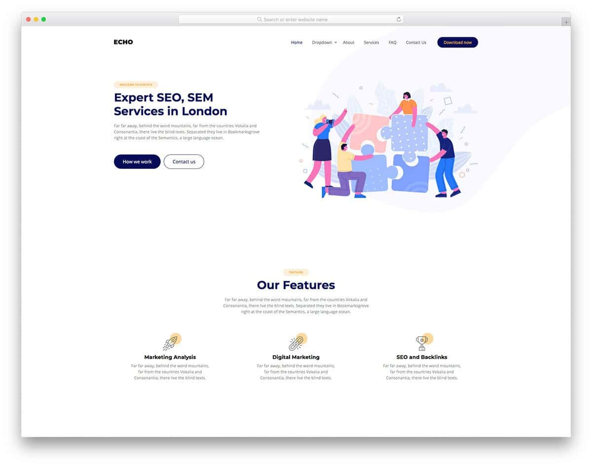 minimal-looking services webs template