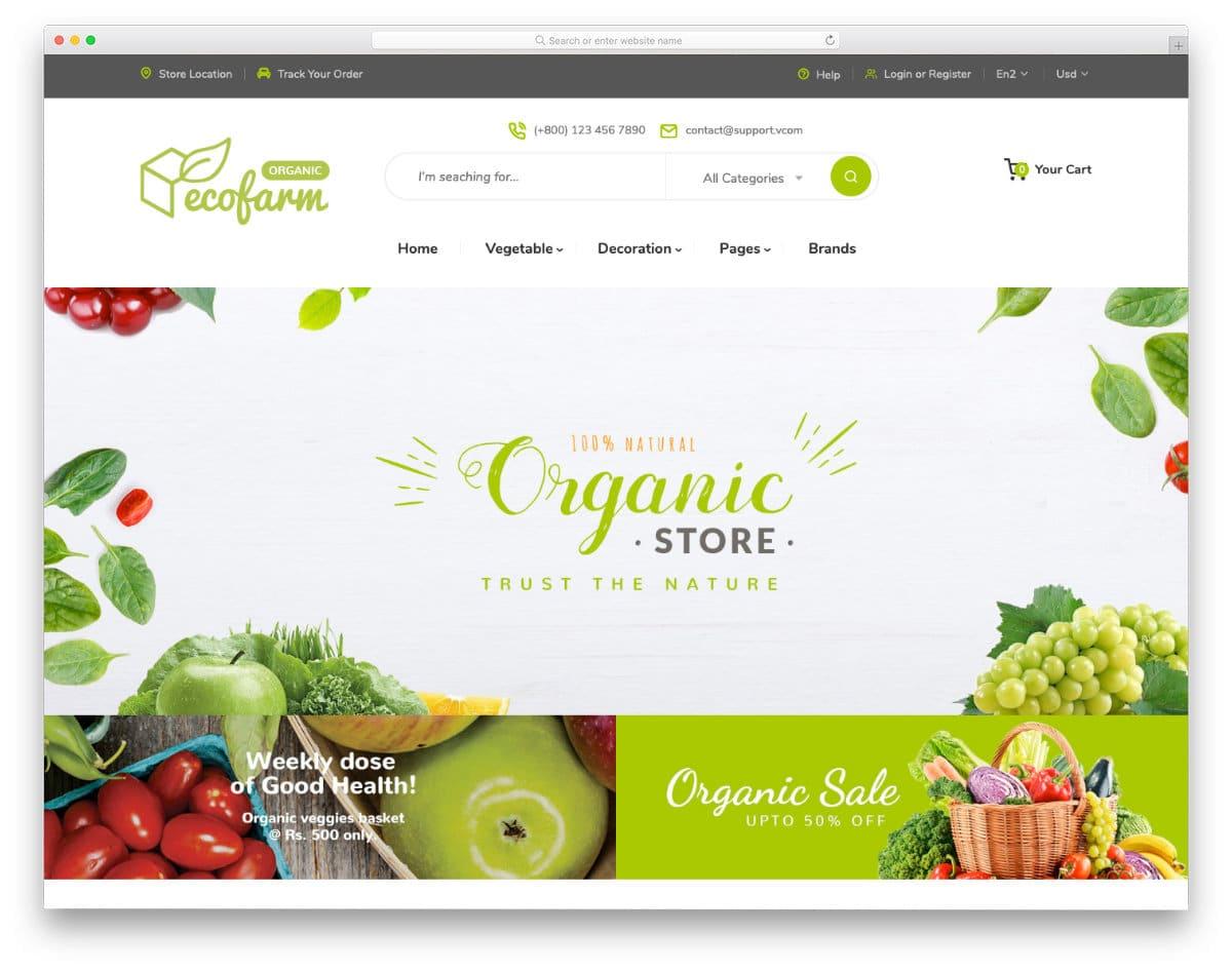 online organic store theme